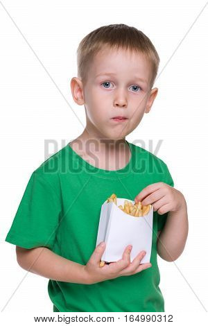 Cute Little Boy With Fries