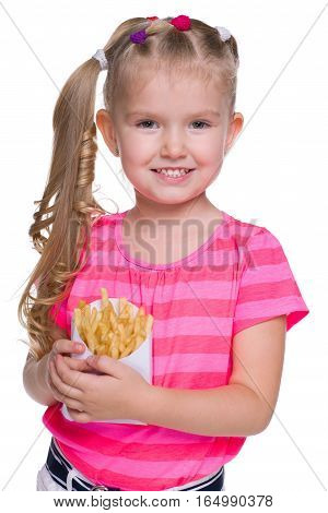 Smiling Little Girl With Fries