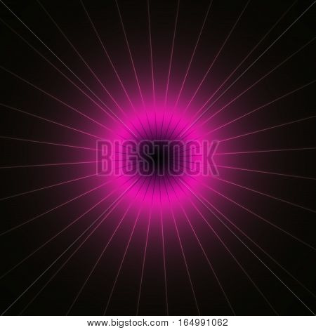 Purple Pink Shinning Neon Spike Discs On Dark Background.