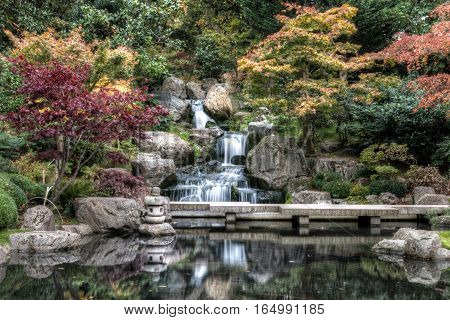 Waterfall In London In Autumn