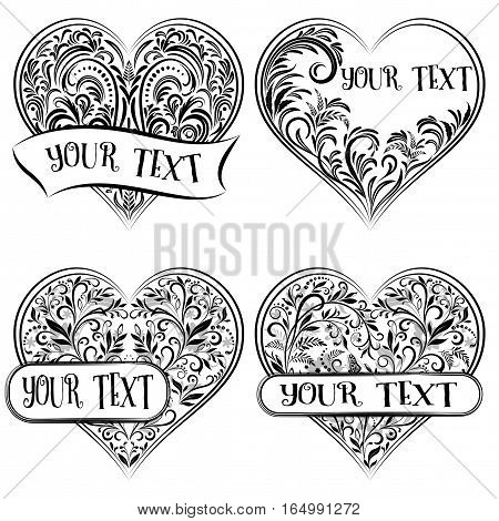 Set Valentine Holiday Symbols, Hearts with Floral Pattern, Leafs And Butterflies, Black Contours Isolated on White Background. Vector