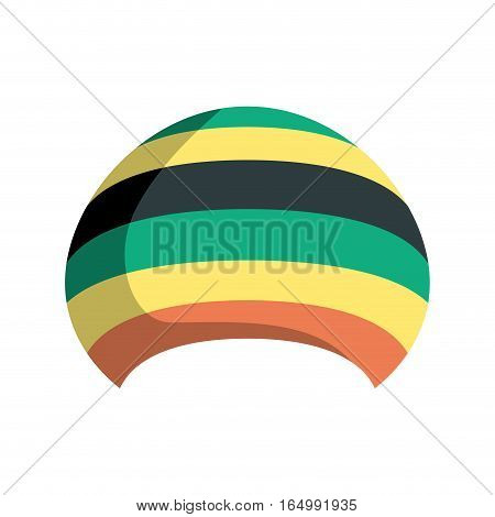 Rastafarian Hat Isolated. Jamaica Cap On White Background