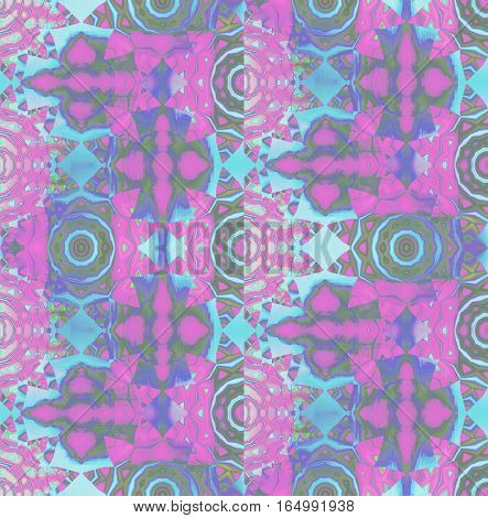 Abstract geometric background. Regular concentric circle ornaments in violet, magenta, light blue and dark green shades, with elements in pink and purple, ornate and dreamy.