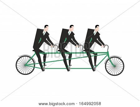 Businessman On Tandem. Business Team On Bicycle. Boss Navigator.