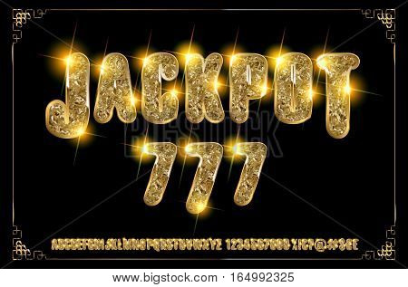Jackpot 777. Golden Glowing Alphabet