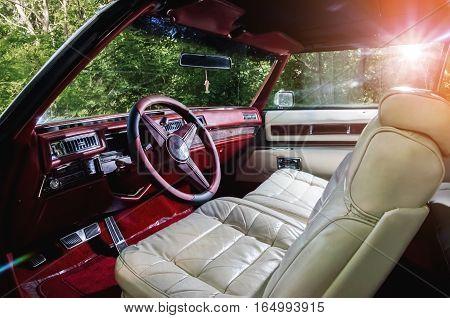 Vintag antique american car white vehicle interior