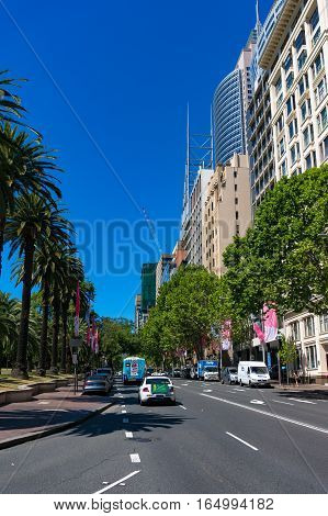 Macquarie Street In Sydney Central Business District With Cars