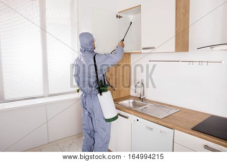 Pest Control Worker In Workwear Spraying Pesticide On Shelf In Kitchen