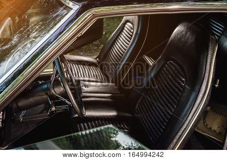 Vintage antique american car white vehicle interior