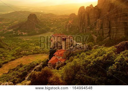 Monastery Roussanou, famous Meteora in Greece with sunshine.
