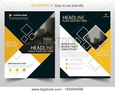 Yellow annual report brochure flyer design template vector Leaflet cover presentation abstract flat background layout in A4 size