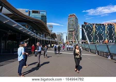 Southern Cross Railway Station Bridge With People
