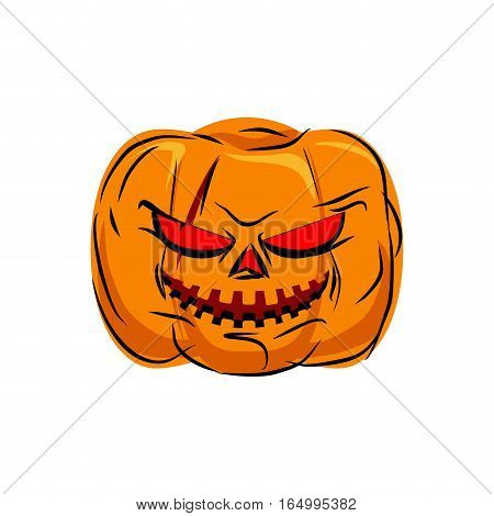 Scary Pumpkin For Halloween. Vegetables For Terrible Holiday