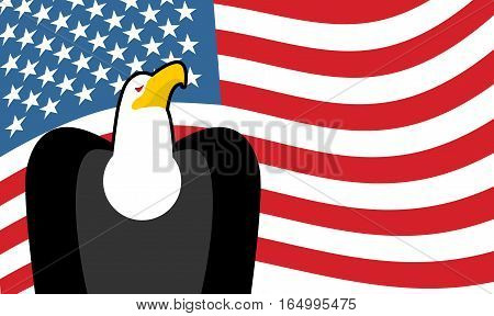 Bald Eagle And Us Flag. Symbol Of America. Patriotic Illustration For Independence Day