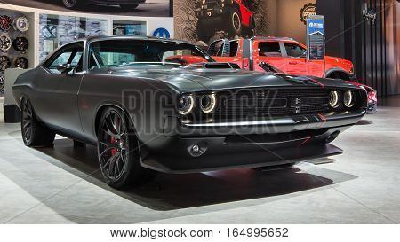 DETROIT MI/USA - JANUARY 10 2017: A 1971 Dodge Mopar Challenger Shakedown car at the North American International Auto Show (NAIAS).
