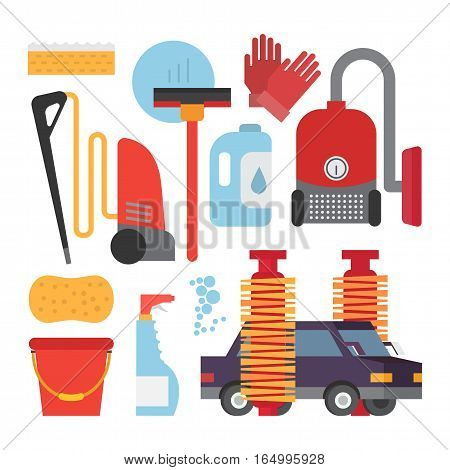 Automatic and hand carwash facilities. Cleaning equipment car washing set. Flat vector icons