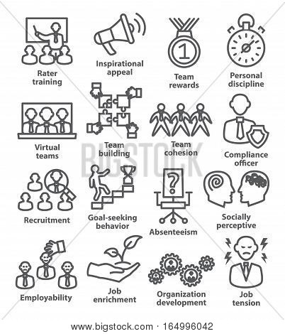Business management icons in line style on white. Pack 21.
