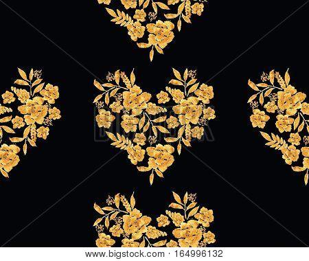 Romantic Gold Rose Bouquet Design Pattern Invitation Template.