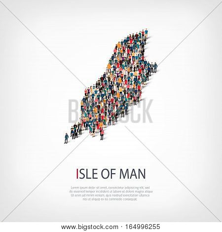 Isometric set of styles, people, map of Isle of Man , country, web infographics concept of crowded space, flat 3d. Crowd point group forming a predetermined shape. Creative people. Vector illustration. Photo vector.3D illustration. White background . Isol