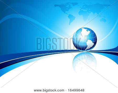 Clean futuristic background with earth globe and map