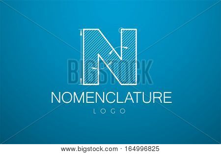 Logo Template Letter N  In The Style Of A Technical Drawing.