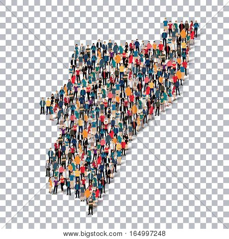 Isometric set of styles, people, map of Kwazulu , country, web infographics concept of crowded space, flat 3d. Crowd point group forming a predetermined shape. Creative people. Vector illustration. Photo vector.3D illustration. Transparent background . Is