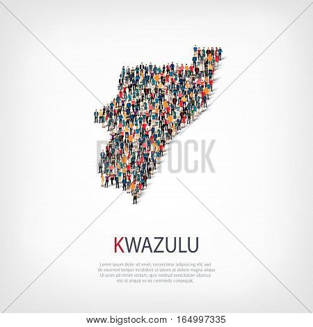 Isometric set of styles, people, map of Kwazulu , country, web infographics concept of crowded space, flat 3d. Crowd point group forming a predetermined shape. Creative people. Vector illustration. Photo vector.3D illustration. White background . Isolated