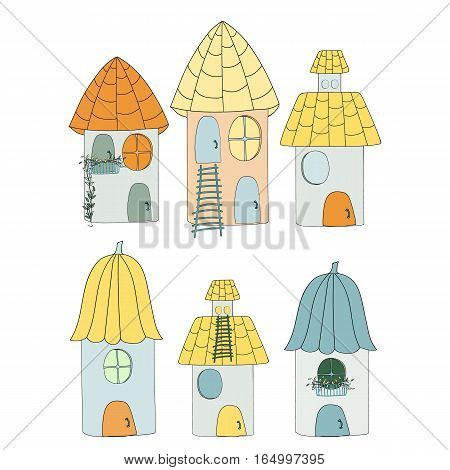 Collection artoon of cute houses in a childlike style.