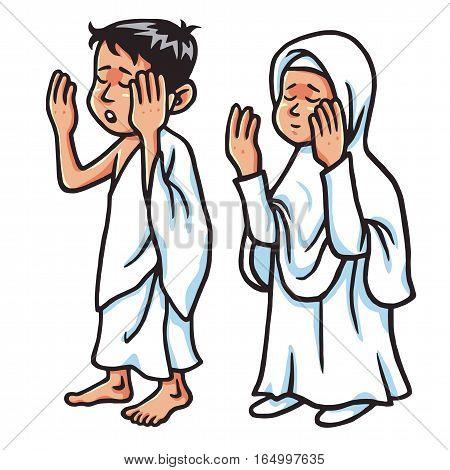 Boy And Girl Hajj Praying  Vector Illustration