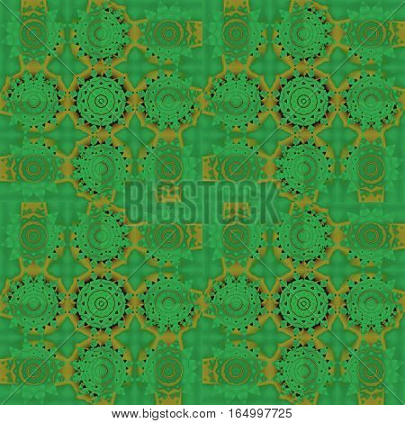 Abstract geometric background. Regular concentric circle ornaments in green shades with golden elements, ornate and dreamy.