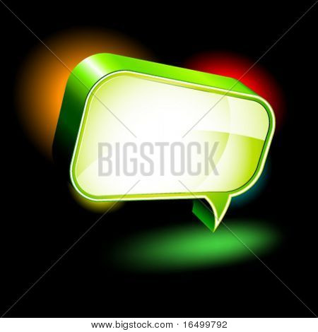 3D Icons: Glossy Chat Box in Reflector Lights