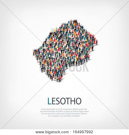 Isometric set of styles, people, map of Lesotho , country, web infographics concept of crowded space, flat 3d. Crowd point group forming a predetermined shape. Creative people. Vector illustration. Photo vector.3D illustration. White background . Isolated
