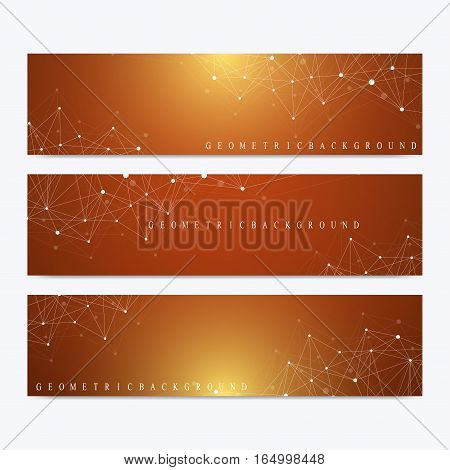 Modern set of vector banners. Geometric abstract presentation. Molecule DNA and communication background for medicine, science, technology, chemistry. Cybernetic dots. Lines plexus