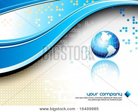 Clean futuristic vector design template with earth globe and map