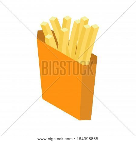 French Fries Isolated. Paper Box For Fast Food On White Background