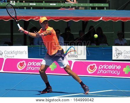 Melbourne Australia - January 11 2017: Croatian Tennis player Borna Coric preparing for the Australian Open at the Kooyong Classic Exhibition tournament