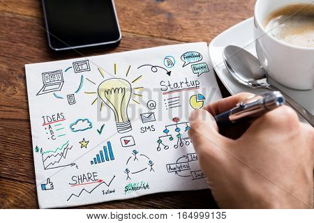 High Angle View Of Person Drawing Lightbulb Ideas Concept On White Paper At Wooden Desk