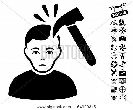 Murder With Hammer pictograph with bonus nanocopter service pictures. Vector illustration style is flat iconic black symbols on white background.