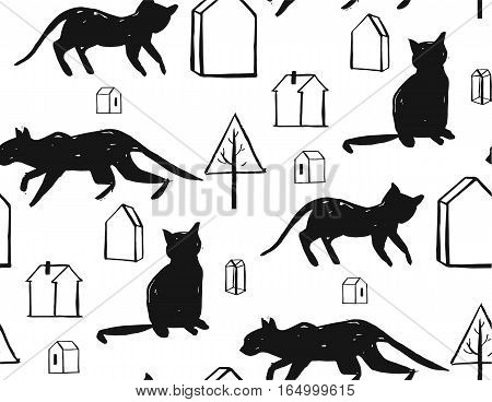 Hand made scandinavian nordic black and white pattern with silhouette of black cat and houses with trees isolated on white background.Simple animal fabric pattern.Domestic animal motif.