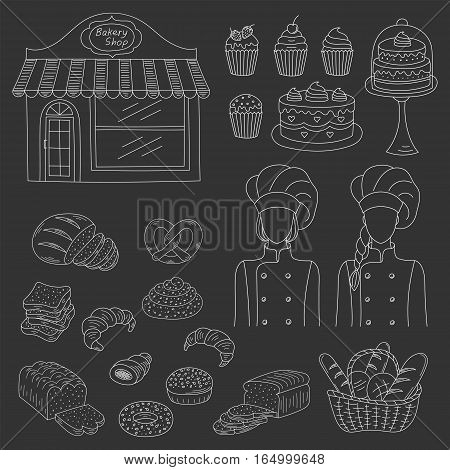 Bakery collection with female bakers in chief uniforms, bakery shop and fresh pastry collection with various sorts of breads and cakes. Hand drawn doodle style vector illustrations isolated on black.