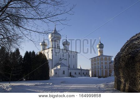 Veliky Novgorod Russia. Spaso-Preobrazhensky Varlaamo-Khutyn Monastery. Russian Orthodox Shrine. January 2017