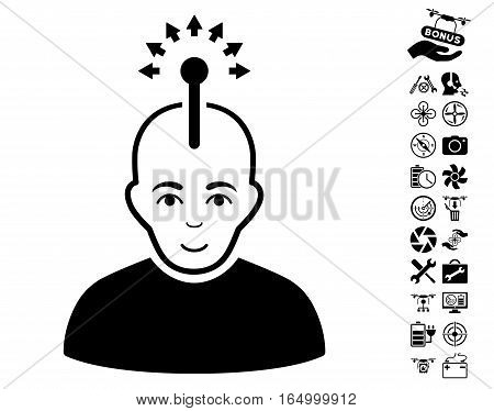 Optical Neural Interface pictograph with bonus airdrone tools pictures. Vector illustration style is flat iconic black symbols on white background.