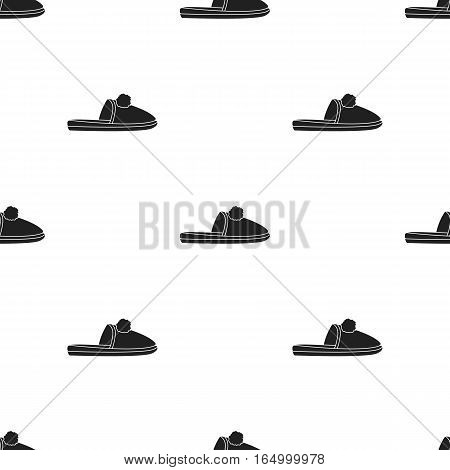Slippers icon in  black style isolated on white background. Shoes pattern vector illustration.