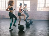 Young women exercising in aerobics class with medicine balls on floor. Three females doing workout together in gym. poster