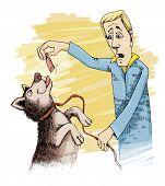 humorous illustration of husky dog and sausage poster