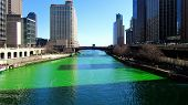 Dying of the Chicago River Green on St. Patrick's Day poster