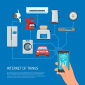 Internet of Things vector concept illustration. Human hand holding smartphone with IoT lettering on screen. Household appliances, auto icons connected to mobile. Home automation concept, flat style. poster