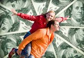 Portrait Young love Couple smiling money, 100 american dollars poster