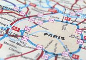 Paris as a travel destination on a map poster