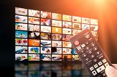 Multimedia video wall television broadcast. multimedia wall television video broadcast advertising background broadcasting concept poster